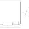 """PCS8075 tekening-Buyck Displays-PLEXIGLAS """"ANTI-CORONA"""" PREVENTIESCHERM VOOR OP TOONBANK OF BALIE MET DOORGEEF OPENING"""